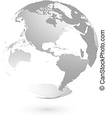 3D planet Earth globe. Transparent sphere with grey land silhouettes. Focused on Americas