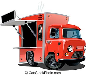 Cartoon food truck isolated on white background. Available...