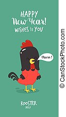 Set of funny cartoon rooster
