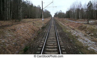 Railroad track running through coutry landscapes - Railroad...