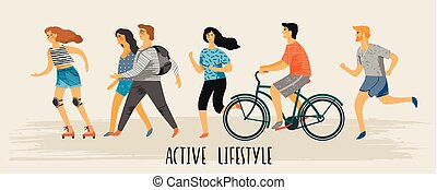 Vector stylized illustration of active young people. Healthy lifestyle.