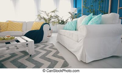 White diy coffee table in blue stylish living room