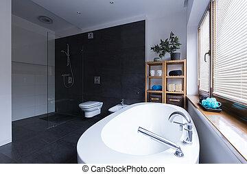 Badezimmer, Modern, Schwarz, Fliesenmuster ...