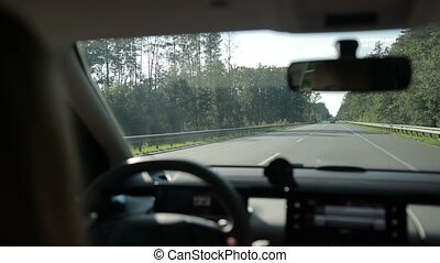 Car travelling on freeway through the forest - Woman driving...