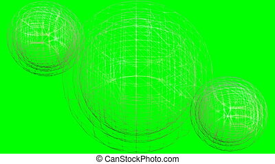 Video animation of golden wireframe spheres rotating on...