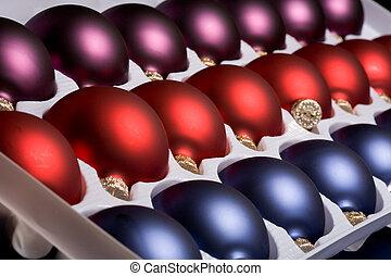 Tray of Christmas tree ornaments