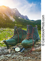 Hiking boots with knife on tree trunk with mountains in...