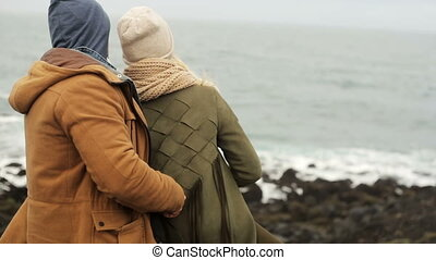 Back view of young beautiful couple standing on the shore of the sea together and enjoying the scenic landscape.
