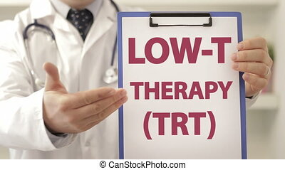 Doctor advice patient Low T therapy - Doctor wearing a...