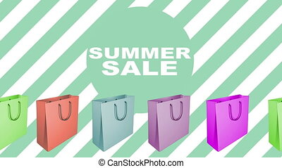 Summer sale sign with animated shopping bags in different...