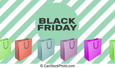 BLACK FRIDAY sign with animated shopping bags in different...