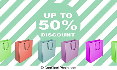 50 percent sale sign with animated shopping bags in...