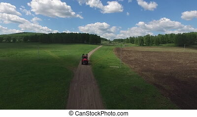 Aerial shot of tractor farm machinery