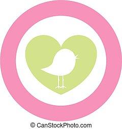 Cute Heart Bird