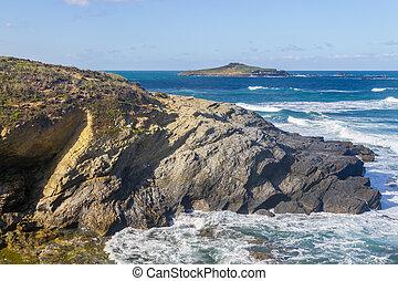 Cliff and island in Porto Covo, Alentejo, Portugal