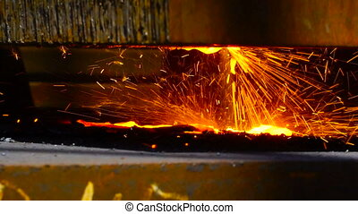 Worker Cutting Metal with a gas Flame torch in Metal...