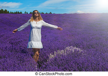 Young women in the lavender field.