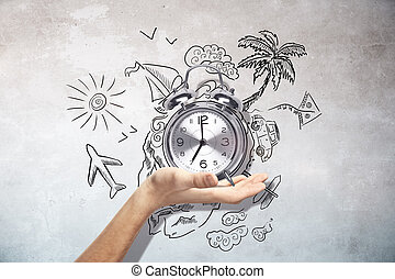 Traveling time concept - Male hand holding silver alarm...