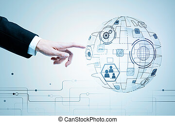 Innovation, global communication and interface concept -...