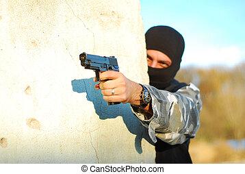 terrorista, máscara, arma