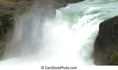 Waterfall in Torres del Paine National Park, Chile. Slow...