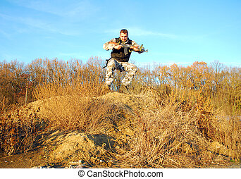 soldier jump - Military physical training, making jumps with...