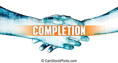 Completion Concept with Businessmen Handshake on White...