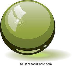 Green glass sphere over white EPS 8, AI, JPEG