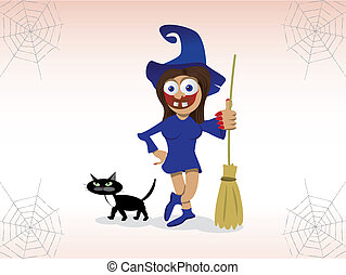 Scary Witch - Scary witch and cat illustration