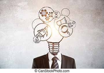 Startup concept - Abstract lamp and business icons headed...