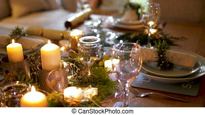 Table Ready For Christmas Dinner - Dining table which has...