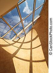 techo, claraboya, ventana, hermoso, sol