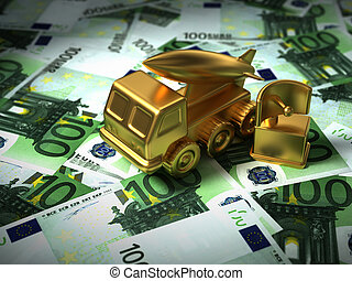 Gold Radar And Missile System On The Euro Money. 3D...
