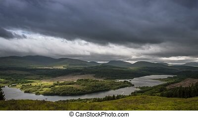 Time Lapse, Dramatic Cloud Cover Over Loch Garry, Scotland
