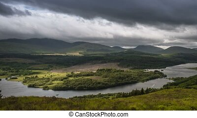 Time Lapse, Dramatic Cloud Cover Over Loch Garry, Scotland,...