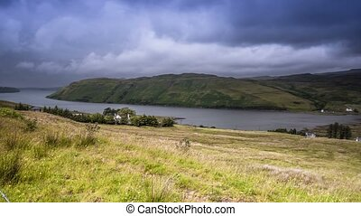 Time Lapse, Pan Along Loch Harport, Scotland