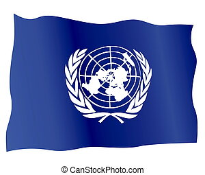 Flag of the United Nations on a white backgroun