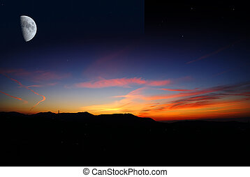Moon at sunrise - Moon at the end of night , just before the...