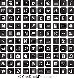 100 learning kids icons set black