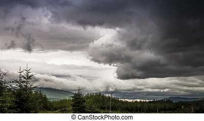 Time Lapse, Stormclouds Over The Trossachs National Park,...