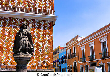 Statue with Colonial Houses in Puebla - Statue with colonial...
