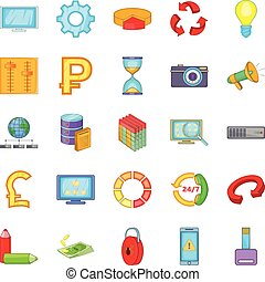 Online business icons set, cartoon style