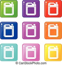Plastic jerry can set 9 - Plastic jerry can icons of 9 color...