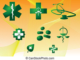 Medical symbols and stuff - green silhouette illustration