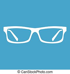 Eye glasses icon white isolated on blue background vector...