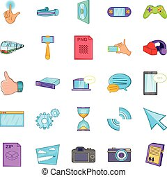 File sharing icons set, cartoon style