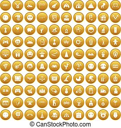 100 funny icons set gold
