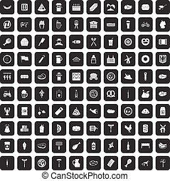 100 meat icons set black - 100 meat icons set in black color...