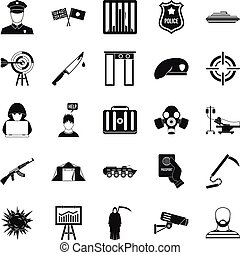 Special forces icons set, simple style - Special forces...