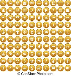 100 geography icons set gold